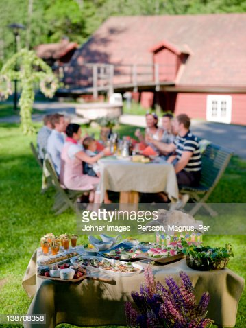 Group of people having midday meal in garden