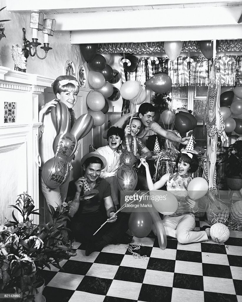 Group of people having party, (B&W), portrait : Stock Photo