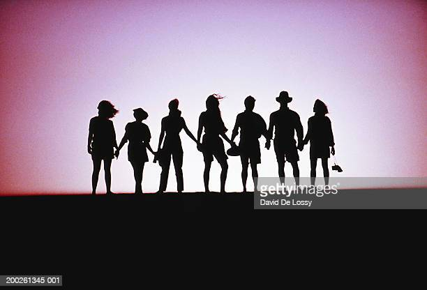 Group of people holding hands, silhouette
