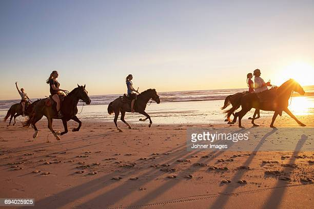 Group of people horseback riding on beach at sunset