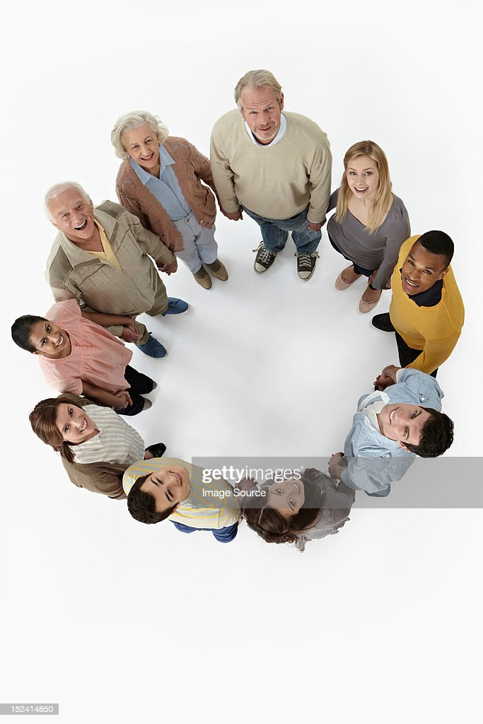 Group of people in a circle, high angle view : Stock Photo