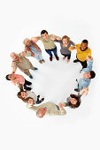 Group of people in a circle, high angle view