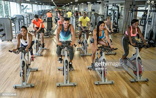 Group of people in a spinning class