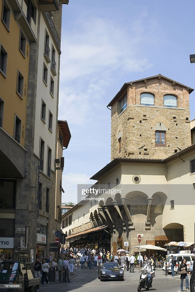 Group of people in a market, Via del Barbado, Florence, Italy : Stock Photo