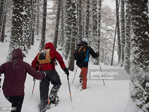 Group of people in a snowy forest