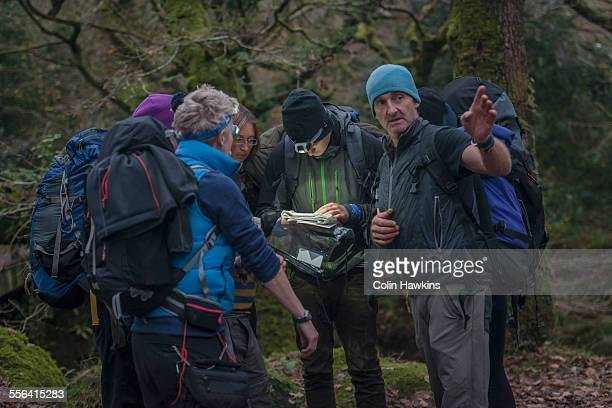 Group of people in forest with map
