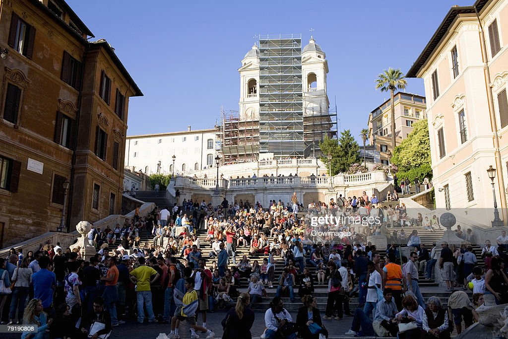 Group of people in front of a church, Trinita Dei Monti, Rome, Italy : Stock Photo