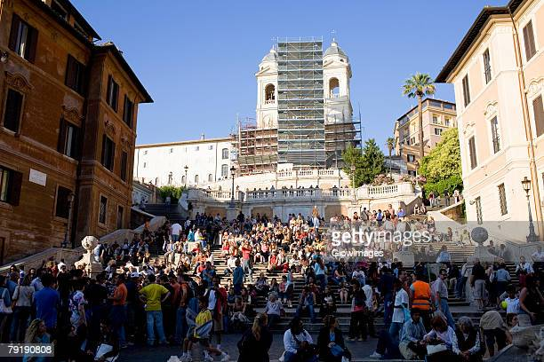 Group of people in front of a church, Trinita Dei Monti, Rome, Italy