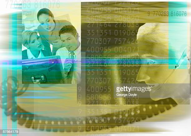 group of people in front of computer screen with numbers superimposed