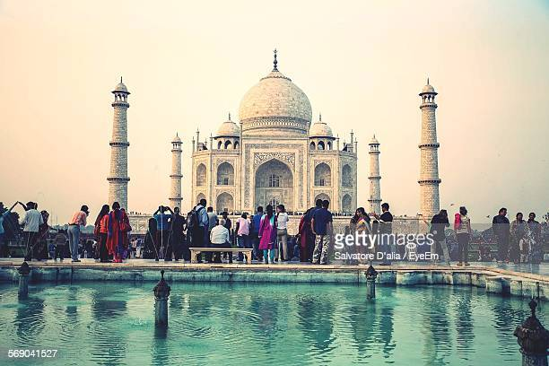 Group Of People In Front Of Taj Mahal