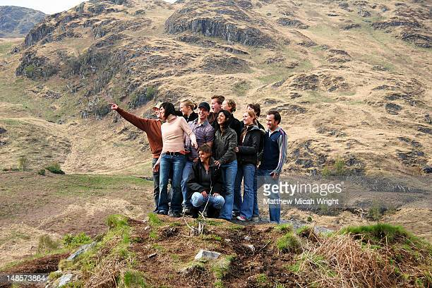 Group of people in the Highlands were many movies have been filmed.