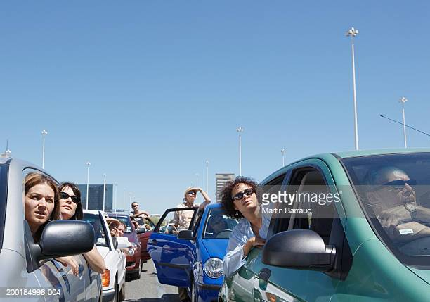 Group of people in traffic jam