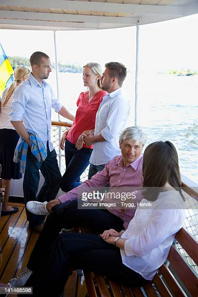 Group of people inside passenger boat