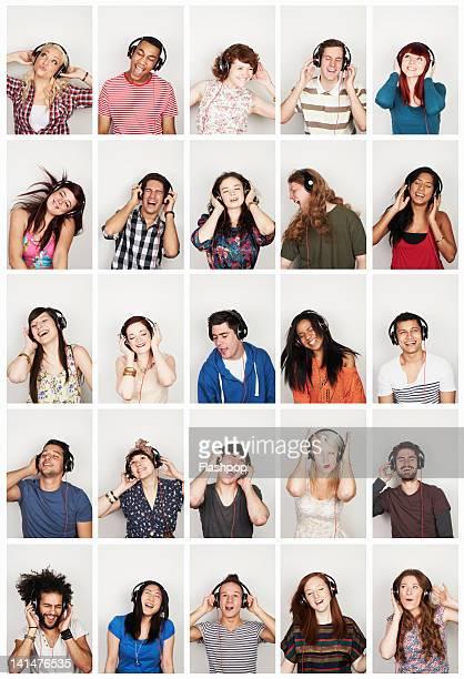 Group of people listening to headphones