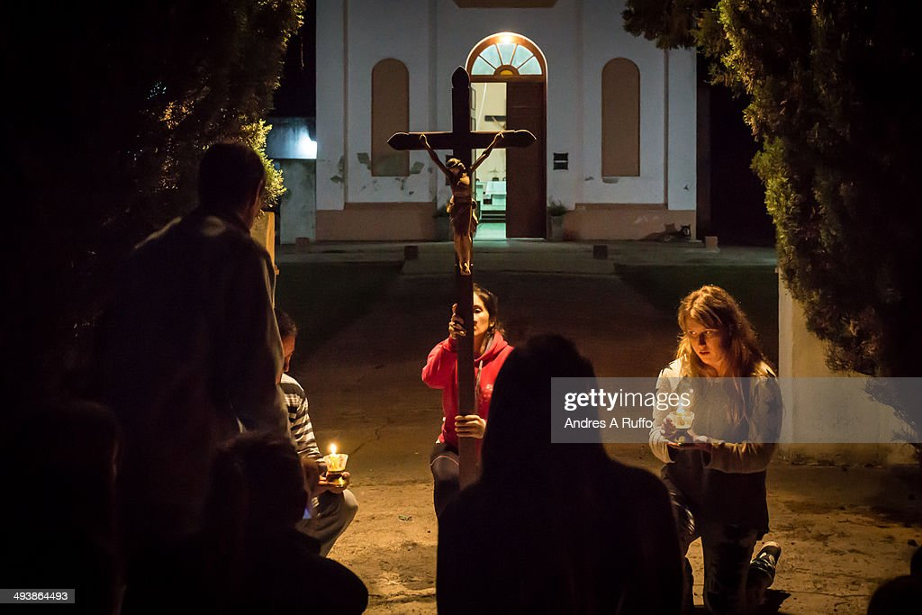 CONTENT] Colonia Italiana Argentina April 18 2014 Group of people locals of the village do a Via Crucis in the seventh season of night for Easter...