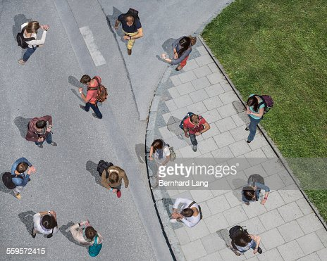 Group of people looking on watches, Aerial Views