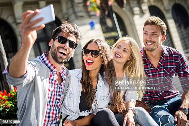 Group of people making a selfie