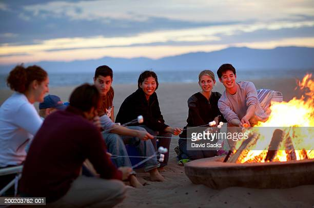 Group of people on beach roasting marshmallows over bonfire