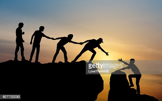 Group of people on peak mountain climbing helping team work , travel trekking success business concept : Foto stock