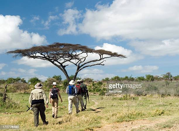 Group of People on Walking Safari in East Africa