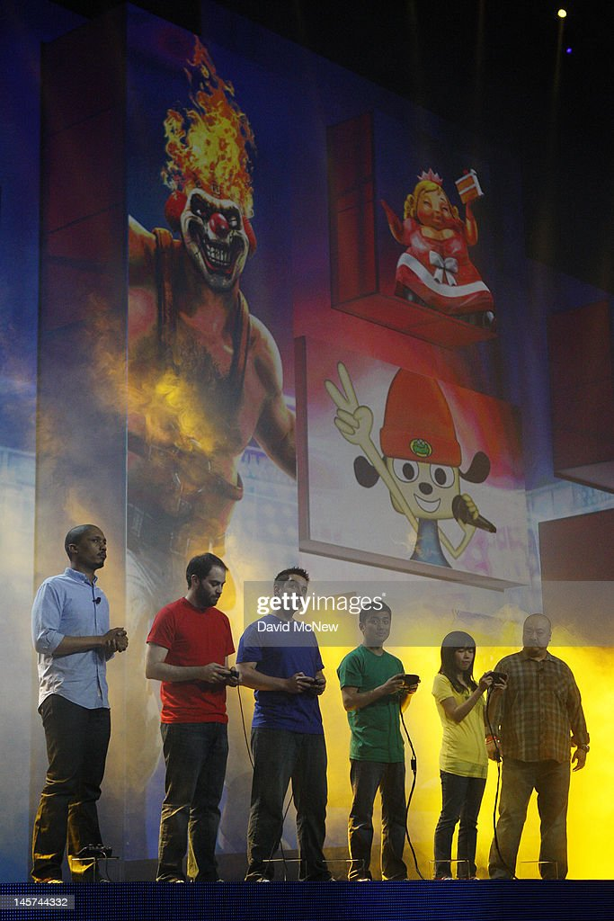 A group of people onstage demonstrate the playing of the PlayStation All-Stars Battle Royale at the Sony press conference on the eve of the Electronic Entertainment Expo (E3) on June 4, 2012 in Los Angeles, California. E3 is the most important yearly trade show the USD 78.5 billion videogame industry.