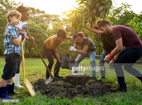 Grupo de personas de la planta un árbol juntos al aire libre : Foto de stock