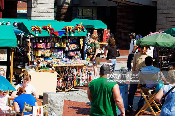 Group of people shopping in a market, Quincy Market, Boston, Massachusetts, USA