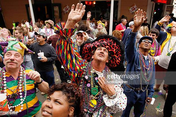 A group of people shout for beads on Bourbon Street on Mardi Gras Day February 20 2007 in New Orleans Louisiana This is the second Mardi Gras...