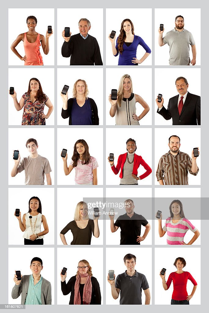 Group of people showing smartphone : Stock Photo