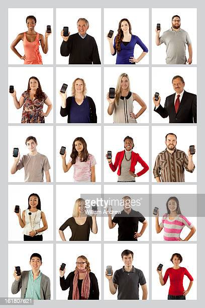 Group of people showing smartphone