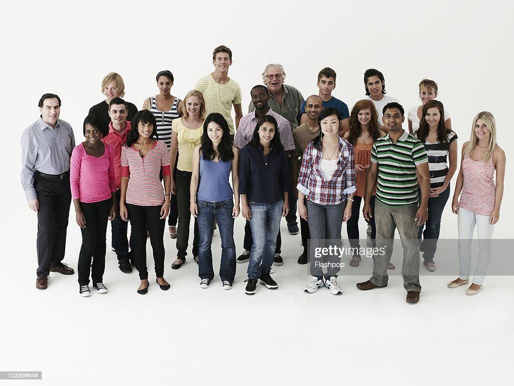 Group of people smiling to camera : Stock Photo