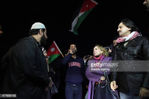 A group of people stage a demonstration outside Israeli embassy to protest Israel due to the death of a Jordanian killed by Israeli soldiers at...