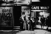 A group of people stand outside the Cafe Wha nightclub at 113 MacDougal Street in Greenwich Village New York City April 21 1966