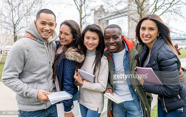 Group of people studying abroad