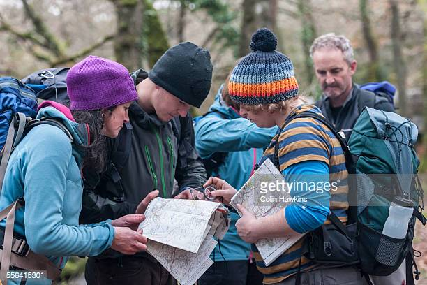 Group of people studying map