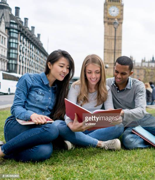 Group of people studying outdoors in London