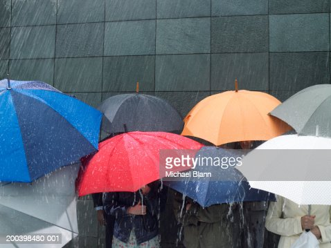 Group of people under umbrellas in rain