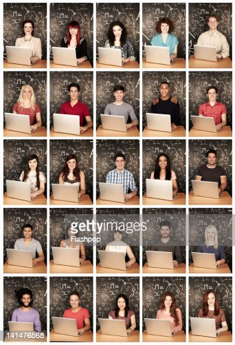 Group of people using a laptop : Stock Photo