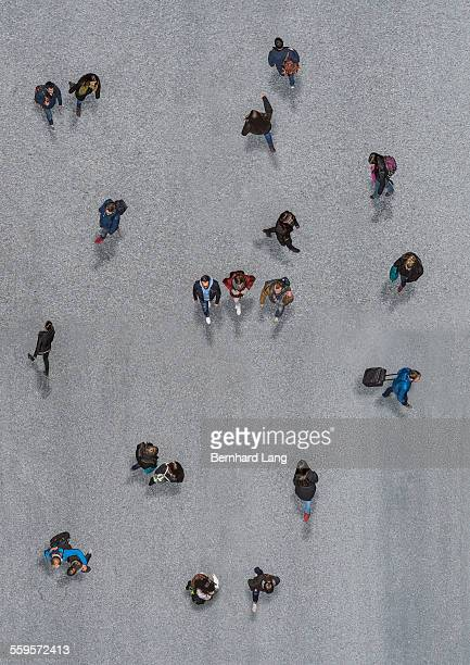 Group of people walking, Aerial View