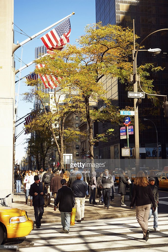 Group of people walking on a road, Brooklyn, New York City, New York State, USA : Stock Photo
