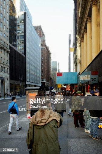 Group of people walking on the walkway, New York City, New York State, USA : Stock Photo