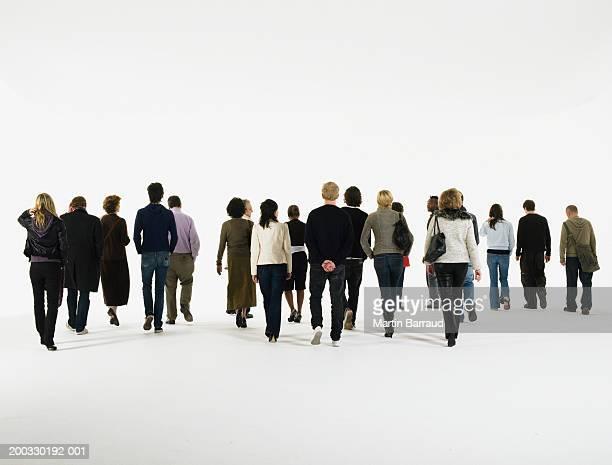 Group of people walking, rear view