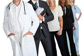 Cropped image of people with different occupations on white background