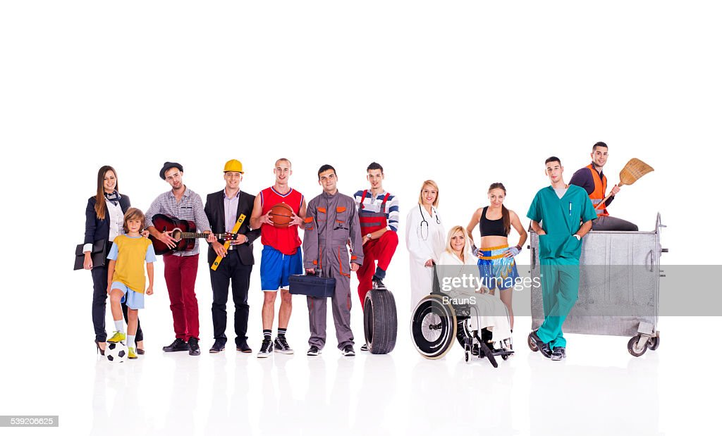 Group of people with different occupations. : Stock Photo