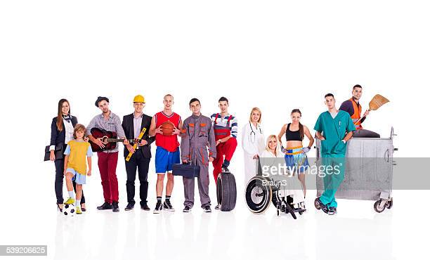Group of people with different occupations.