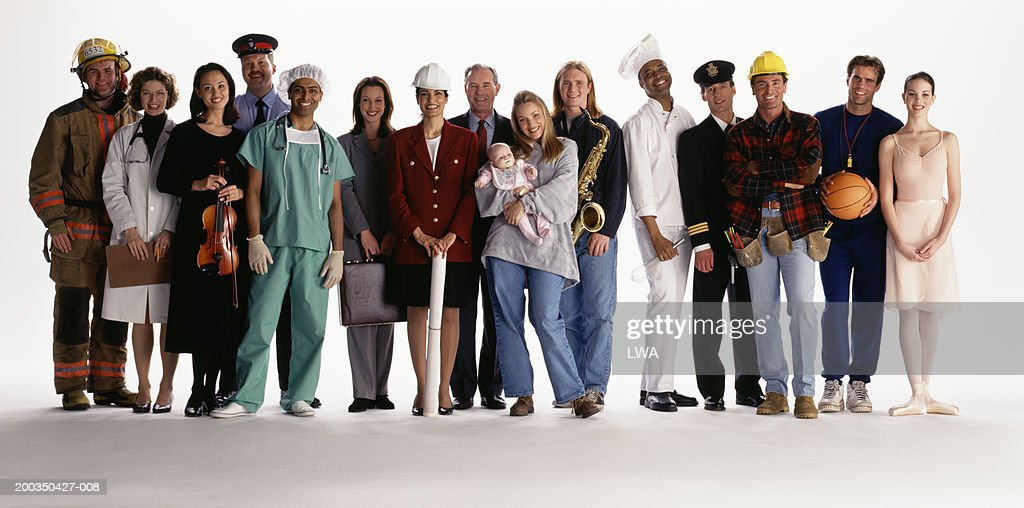 Group of people with different occupations smiling, portrait : Stock Photo