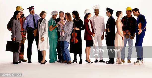 Group of people with different occupations talking to each other