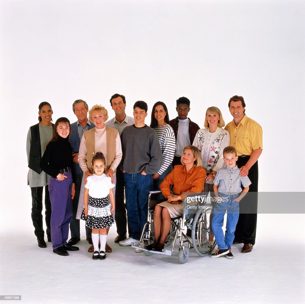 Group of people, woman in wheelchair, portrait : Stock Photo