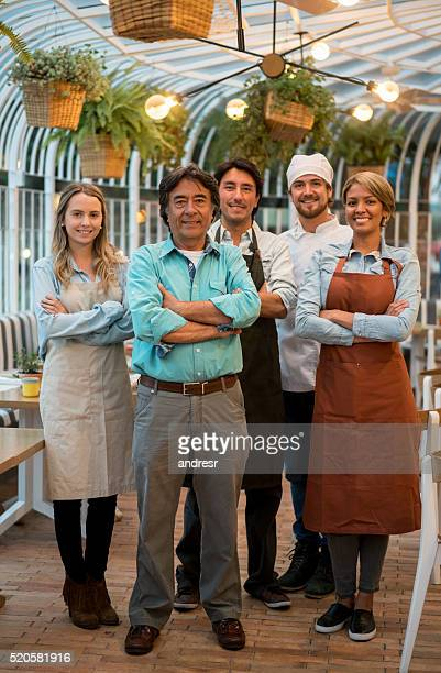 Group of people working at a restaurant
