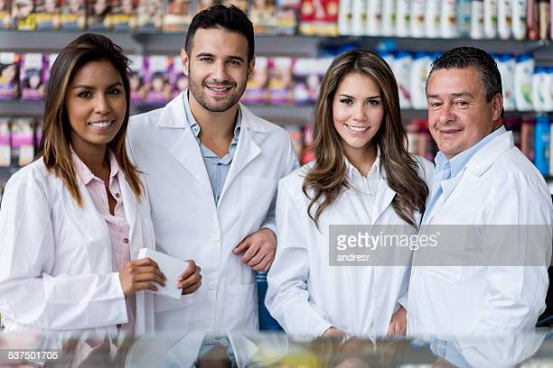 Group of people working at the drugstore